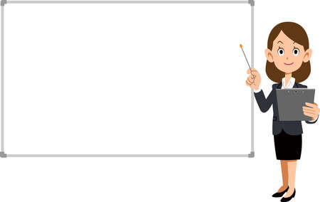 Businesswoman to explain and a simple whiteboard Ilustração