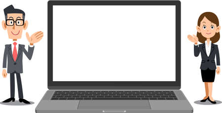 A laptop with a blank screen and a business person to guide you