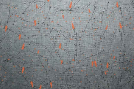 Gray cotton canvas fabric with orange things