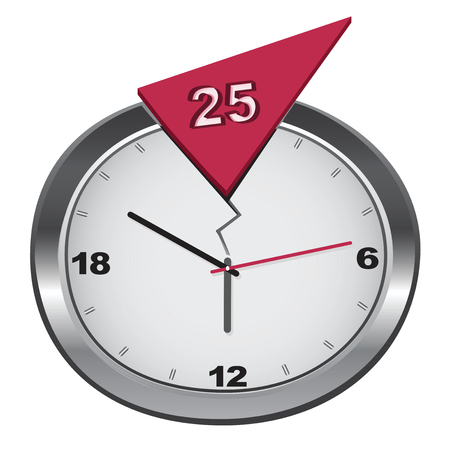hour hand: Vector cracked 24-hour clock with additional 25 hour