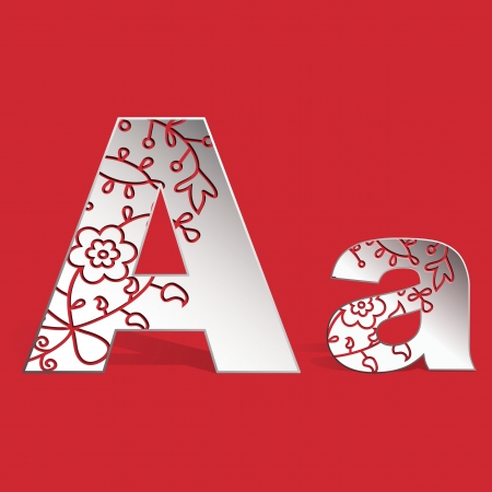 carved letters: Vector 3D paper uppercase A and lowercase a  letters with carved ornament