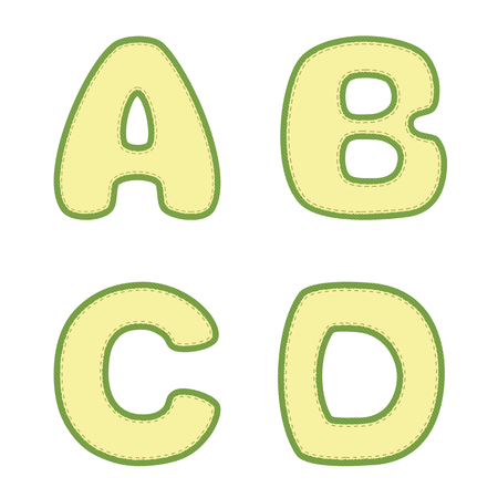 Vector textured green and yellow A B C D letters with stitch