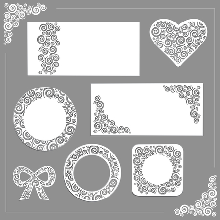 Vector ornament wedding kit  frames, invitation, elements, cards  Illustration
