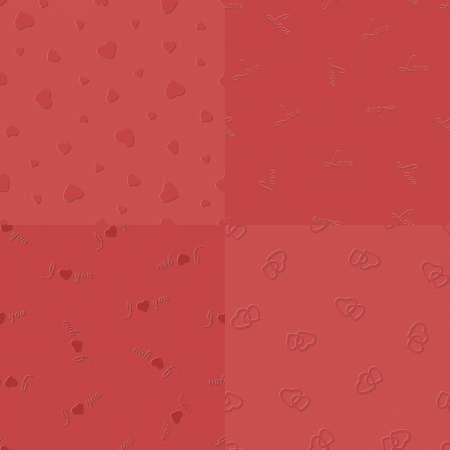 Vector embossed red hearts, love, I-love-you and two coupled hearts seamless pattern, collected in a kit Illustration