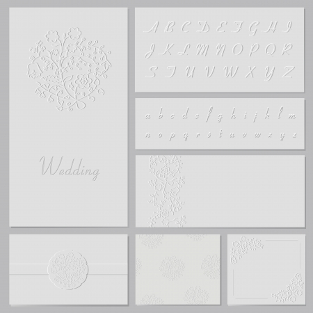 Vector embossed wedding set   frame, invitation, seamless pattern, elements, alphabet, cards, envelope  Illustration