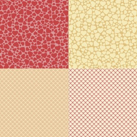 Vector seamless patterns with big and small hearts and fine lace net  Vector
