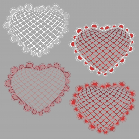 Vector fine multi-colored mesh hearts with a fine lace border Illustration
