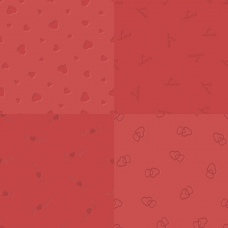 beguin: Vector bulged-in red hearts, love, I-love-you and two coupled hearts seamless pattern, collected in a kit Illustration