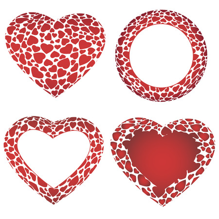 Vector three hearts and circle frames, consisted of small 3D hearts Vector