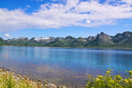 Picturesque panorama on Lofoten Islands towards island of Vestvagoy Stock Photo