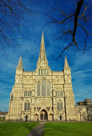 Medieval Salisbury Cathedral in England photo