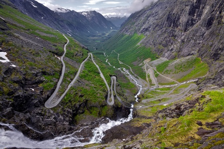 One of the most dramatic mountain passes in the world, Trollstigen in Norway photo