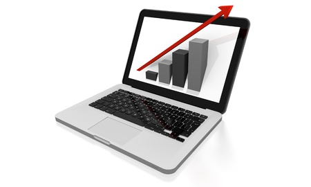 3D render of growth chart on a laptop screen photo