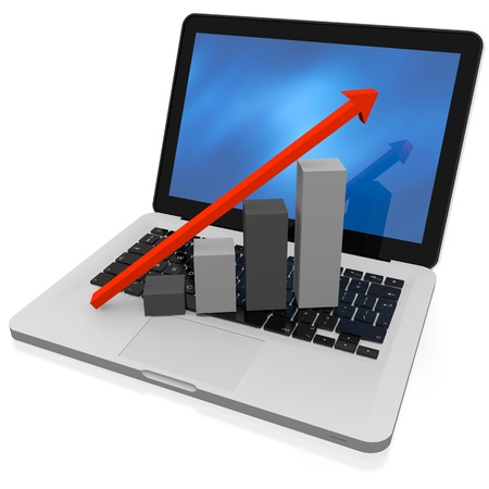 3D render of growth chart on a laptop screen