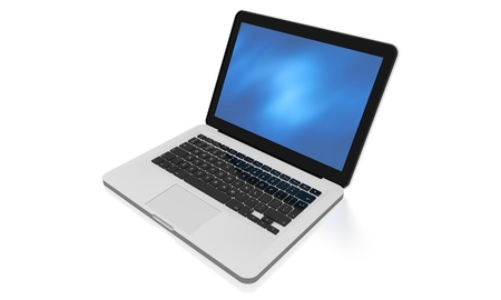 3D render of a silver unibody laptop with abstract blue screen Stock Photo - 11543963