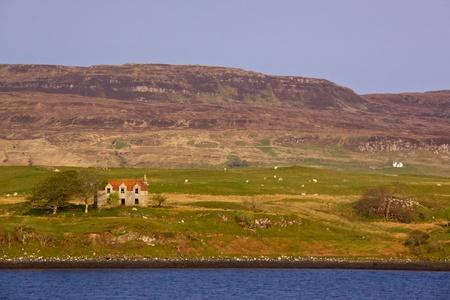 pastureland: Abandoned house and pasture on Isle of Skye, Scotland Stock Photo
