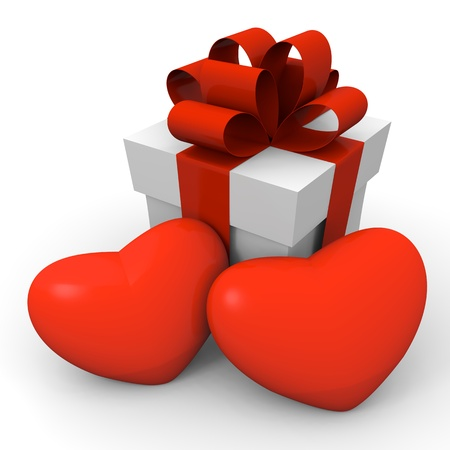 Gift box with two huge hearts photo
