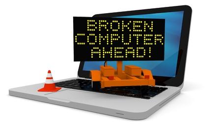 roadworks: Roadworks cart on laptop displaying broken computer warning Stock Photo