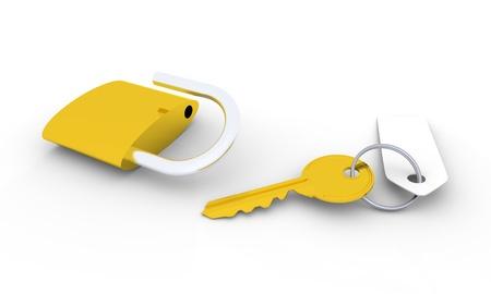 unlocked: Golden key with blank tag and unlocked golden padlock