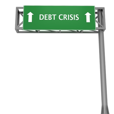 Highway signboard pointing forward displaying DEBT CRISIS Stock Photo - 11868660