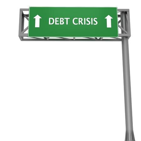 Highway signboard pointing forward displaying DEBT CRISIS Stock Photo - 11868660