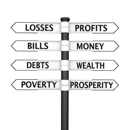 Crossroads sign with Wealth related content pointing in one direction and Poverty related in the opposite direction