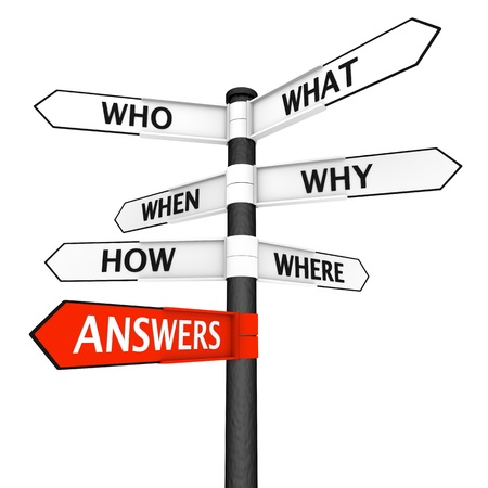 Crossroads sign with questions in every direction and answers pointer highlighted in red Stock Photo