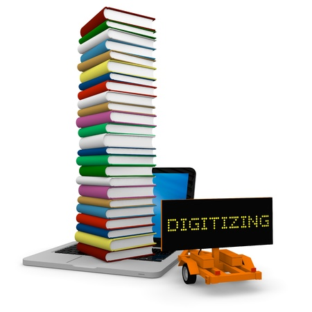 Tall pile of colourful books on the top of a laptop and a cart with sign DIGITIZING