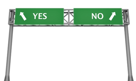 Highway signs YES and NO pointing in the opposite directions photo