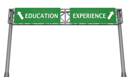dilemma: Highway signs showing Education to the left and Experience to the right, lifestyle dilemma