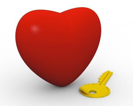 Golden key next to big red heart photo