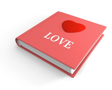 titled: Pink book titled love with 3D heart on the cover Stock Photo