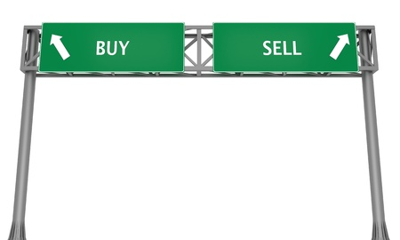 Highway signs BUY and SELL pointing in the opposite directions photo