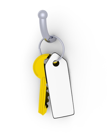 Golden key with blank tag for your own text photo