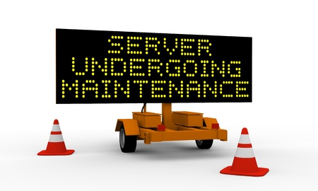 Black signboard on the top of a roadworks cart saying Undergoing maintenance Stock Photo