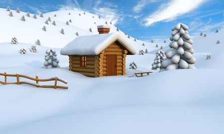 snowy hill: 3D illustration of a cute little wooden hut in the middle of snowy countryside Stock Photo