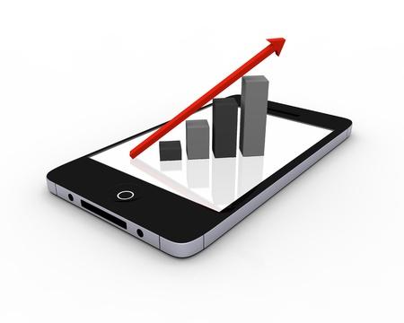 タッチ スクリーン上の成長チャートと現代のスマート フォン 写真素材