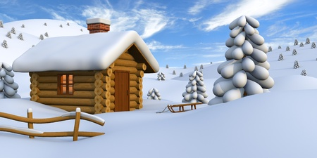 3D illustration of a cute little wooden hut in the middle of snowy countryside illustration