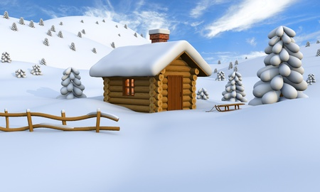 log cabin in snow: 3D illustration of a cute little wooden hut in the middle of snowy countryside Stock Photo