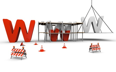 website traffic: Concept of website under construction with www being built and painted