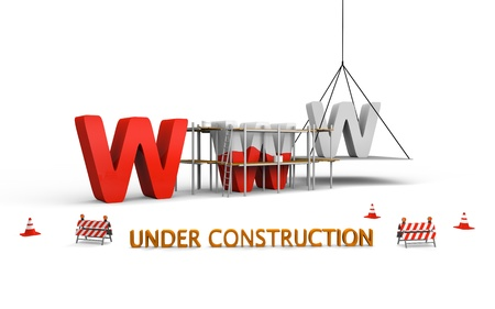 building maintenance: Simple website under construction concept with letters www being built and painted red, with traffic barries and cones spread across
