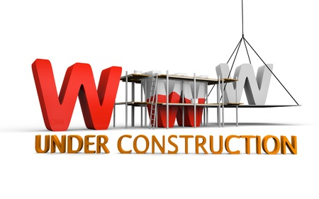 Simple website under construction concept with letters www being built and painted red photo