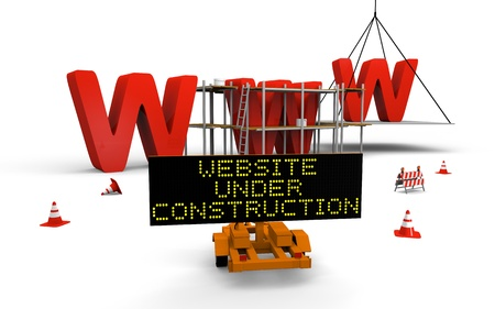 Concept of building website with letters www being built and painted, traffic sign, barriers and cones spread accross Archivio Fotografico