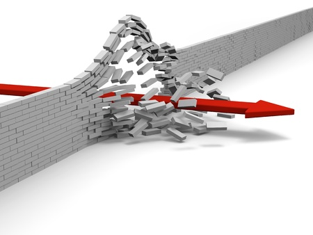 Red arrow breaking through brick wall, concept of success, breakthrough, achievement