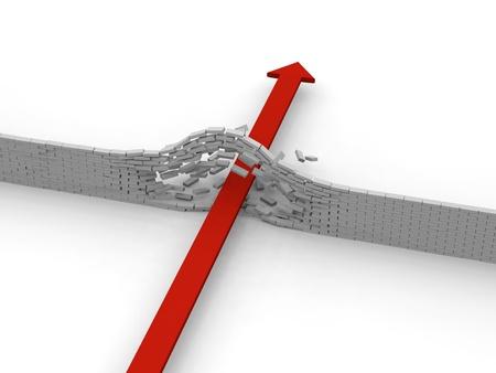 Red arrow breaking through brick wall, concept of success, breakthrough, achievement photo