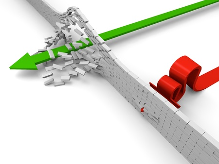 A brick wall stopping one arrow while the other breaks thorugh it, concept of achievement or failure