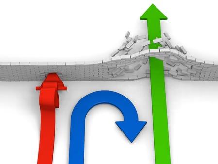 1 つの矢印が障害物に衝突、1 つの回転背部、直進、代替の概念を突破 1 つ