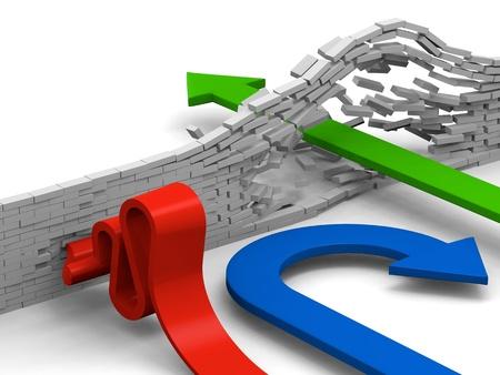 Konzept zu durchbrechen Hindernisse, aufzugeben oder das Überfahren durch Pfeile dargestellt zu überwinden.