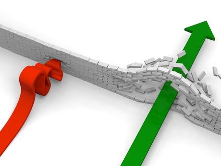 breaking through: Flecha romper obst�culos, mientras que el otro se choca contra las que