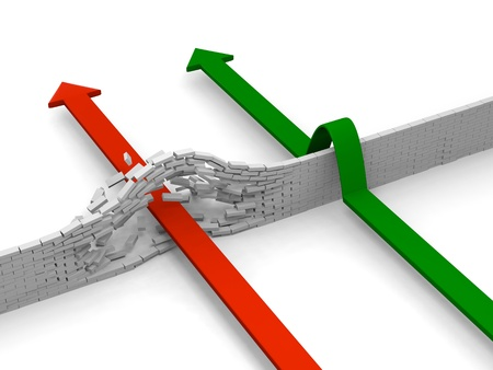 Arrows breaking through and avoiding brick wall, concept of overcoming obstacles Standard-Bild